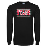 Black Long Sleeve TShirt-Basketball Stacked