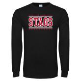 Black Long Sleeve TShirt-Basketball Stacked
