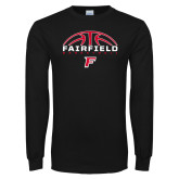 Black Long Sleeve TShirt-Basketball Half Ball