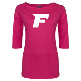 Ladies Dark Fuchsia Perfect Weight 3/4 Sleeve Tee-F