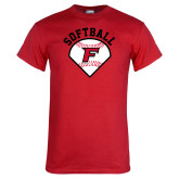 Red T Shirt-Softball Diamonds with Seams