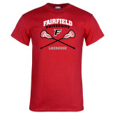 Red T Shirt-Lacrosse Arched Cross Sticks
