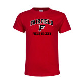Youth Red T Shirt-Field Hockey Arched