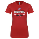 Next Level Ladies SoftStyle Junior Fitted Red Tee-2017 MAAC Softball Champions - Plate