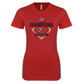 Next Level Ladies SoftStyle Junior Fitted Red Tee-2017 MAAC Softball Champions - Diamond