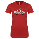 Next Level Ladies SoftStyle Junior Fitted Red Tee-2017 Field Hockey Champions