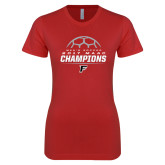 Next Level Ladies SoftStyle Junior Fitted Red Tee-2017 Mens Soccer Champions