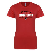Next Level Ladies SoftStyle Junior Fitted Red Tee-2019 Womens Swimming Won the MAAC