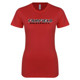 Next Level Ladies SoftStyle Junior Fitted Red Tee-Fairfield University Stacked