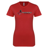 Next Level Ladies SoftStyle Junior Fitted Red Tee-Lacrosse