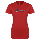 Next Level Ladies SoftStyle Junior Fitted Red Tee-Soccer