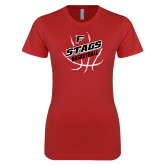Next Level Ladies SoftStyle Junior Fitted Red Tee-Basketball Angled in Ball