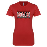 Next Level Ladies SoftStyle Junior Fitted Red Tee-Basketball Stacked