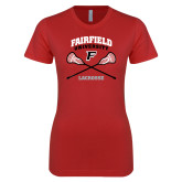 Next Level Ladies SoftStyle Junior Fitted Red Tee-Lacrosse Arched Cross Sticks