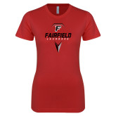 Next Level Ladies SoftStyle Junior Fitted Red Tee-Lacrosse Geometric Head