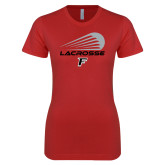 Next Level Ladies SoftStyle Junior Fitted Red Tee-Lacrosse Modern
