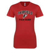 Next Level Ladies SoftStyle Junior Fitted Red Tee-Field Hockey Arched