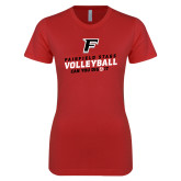 Next Level Ladies SoftStyle Junior Fitted Red Tee-Volleyball Dig it