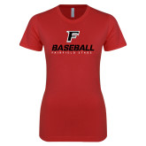 Next Level Ladies SoftStyle Junior Fitted Red Tee-Baseball Type with Icon