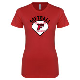 Next Level Ladies SoftStyle Junior Fitted Red Tee-Softball Diamonds with Seams