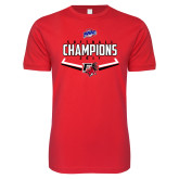 Next Level SoftStyle Red T Shirt-2017 MAAC Softball Champions - Plate