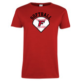 Ladies Red T Shirt-Softball Diamonds with Seams