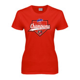 Ladies Red T Shirt-2016 MAAC Baseball Champions