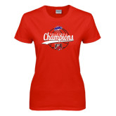 Ladies Red T Shirt-2016 MAAC Volleyball Champions