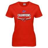 Ladies Red T Shirt-2017 MAAC Softball Champions - Plate