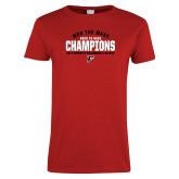 Ladies Red T Shirt-2019 Womens Swimming Won the MAAC
