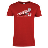 Ladies Red T Shirt-2019 Womens Tennis Conference Champions