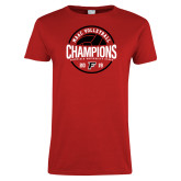 Ladies Red T Shirt-2019 Volleyball Champions