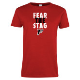 Ladies Red T Shirt-Fear the Stag Distressed