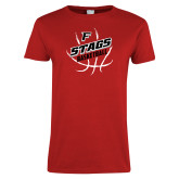 Ladies Red T Shirt-Basketball Angled in Ball