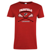 Ladies Red T Shirt-Lacrosse Arched Cross Sticks