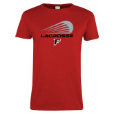 Ladies Red T Shirt-Lacrosse Modern