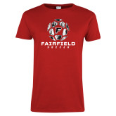 Ladies Red T Shirt-Soccer Geometric Ball