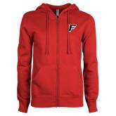 ENZA Ladies Red Fleece Full Zip Hoodie-F