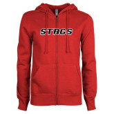 ENZA Ladies Red Fleece Full Zip Hoodie-Stags