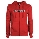 ENZA Ladies Red Fleece Full Zip Hoodie-Stags