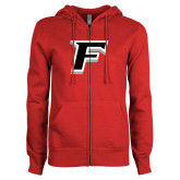 ENZA Ladies Red Fleece Full Zip Hoodie-F