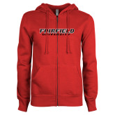 ENZA Ladies Red Fleece Full Zip Hoodie-Fairfield University Stacked