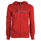 ENZA Ladies Red Fleece Full Zip Hoodie-Athletics