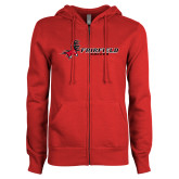 ENZA Ladies Red Fleece Full Zip Hoodie-Soccer