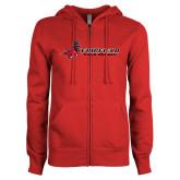 ENZA Ladies Red Fleece Full Zip Hoodie-Field Hockey