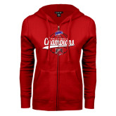 ENZA Ladies Red Fleece Full Zip Hoodie-2016 MAAC Volleyball Champions