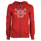 ENZA Ladies Red Fleece Full Zip Hoodie-MAAC 2018 Womens Lacrosse Champions