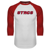 White/Red Raglan Baseball T-Shirt-Stags