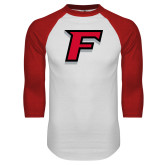 White/Red Raglan Baseball T-Shirt-F