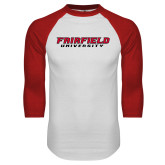 White/Red Raglan Baseball T-Shirt-Fairfield University Stacked
